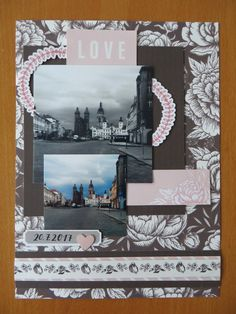 page of my beloved hometown Photo Pa, Double Photo, Monthly Challenge, Happy Mail, Scrapbook Pages, Challenges, Frame, Picture Frame, Frames