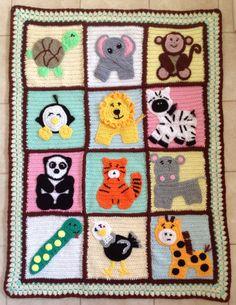 Zoo Animals Handmade Crochet Blanket on Etsy, $80.00 AUD
