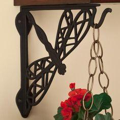 Dragonfly Cast Iron Hanging Plant Shelf Bracket - Black Powder Coat