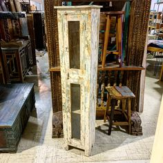 Great storage for narrow spaces.  Painted Wood Single Door Cabinet Item 510979 Measures 15.5x13x70     Priced at $341 - #reclaimed #rustic #rusticdecor #cabinet #storage #rusticfurniture #reclaimedfurniture #storage #cabinet #reclaimedwoodfurniture