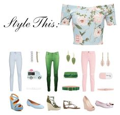 """""""Style This: Floral Crop Top"""" by whatisshewearing ❤ liked on Polyvore featuring Miss Selfridge, 7 For All Mankind, Current/Elliott, Jessica Simpson, GUESS, Kork-Ease, Elorie, Rachel Zoe, Ted Baker and Theory"""