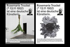 (via Rosemarie Trockel – Editorial on Behance) Typographic Design, Graphic Design Branding, Graphic Design Posters, Graphic Design Inspiration, Book Design, Layout Design, Print Design, Poster Layout, Conceptual Design