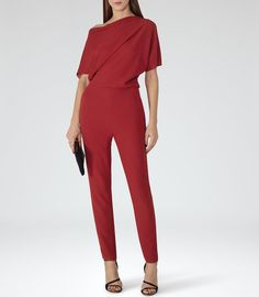 REISS Jayne - Womens Asymmetric Jumpsuit in Red