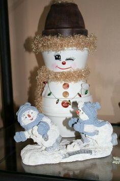 Bloempot sneeuwman .