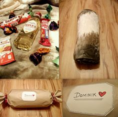 #birthday #gift #present #blanket #sweets #alcohol #wrapping #candy #DIY