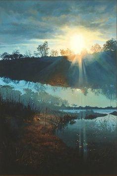 Georgica Pond At Sunset Double Exposure Series originally painted by John Hornak.