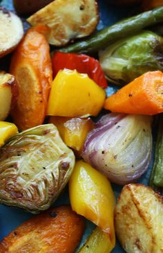 Roasted Vegetables recipe from Jenny Jones (JennyCanCook.com) - So easy and so healthy! Toss veggies on a pan with olive oil, salt and pepper. Roast. Eat. Live longer. #JennyCanCook #roastedvegetables