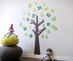 alphabet  tree wall decal | Tree of Knowledge Alphabet Fabric Wall Decals