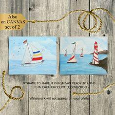 Nautical Nursery Decor, Nautical Wall Art, Nursery Art, Sailor Nursery, Boys Room Decor, Lighthouse, Art For Kids, Boat, Art Prints