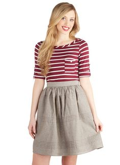 Horizontal Pleats Cotton Skirt
