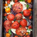 Warm Roasted Tomato, Onion and Feta Salad - Seasons and Suppers