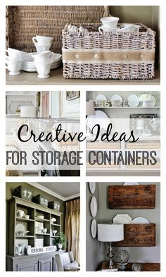 Thistlewood Farms Creative Ideas for Storage Containers www.thistlewoodfa… via bHome bhome. Container Organization, Organization Hacks, Diy Storage Containers, Organizing Solutions, Storage Bins, Konmari, Feng Shui, Thistlewood Farms, Diy Casa