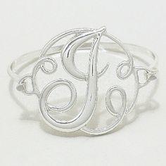 "Monogram Initial Bracelet SILVER 1.75"" Letter J Hinge Bangle"