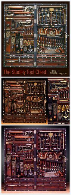 1838年的美國工藝匠 Henry O. Studley, 花了畢生研究工具整理箱, 一個40''x20'' 的箱子最多可以裝下300件工具 / Henry O. Studley (1838-1925) Best known for creating the so called Studley Tool Chest.