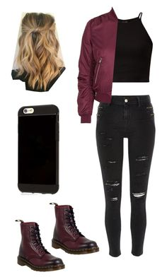 """""""Sin título #122"""" by sxicidegirl ❤ liked on Polyvore featuring River Island, Topshop, Dr. Martens and MINX"""