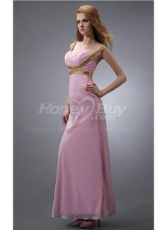 Cross Straps Back Beaded Pink 2013 Prom Dresses With Ankle Length