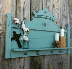 Vintage Antique Headboard Repurposed Entry Way Shelf Turquoise Distressed