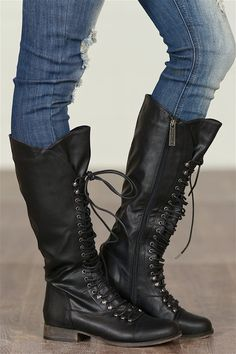 An Edgy Touch Lace Up Boots - Black from Closet Candy Boutique #fashion #shop