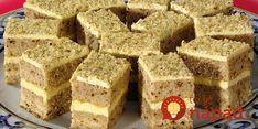 Jemné orechové cesto a maslovo-pudingový krém. Tento luxusný zákusok je jednoduchý na prípravu a veľmi chutil všetkým, ktorí ho ochutnali!