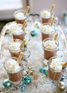Want a delicious way for guests to warm up? A hot chocolate station is sure to look as good as it tastes!