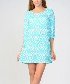 Look at this #zulilyfind! Bellino Mint & White Geometric Shift Dress by Bellino #zulilyfinds
