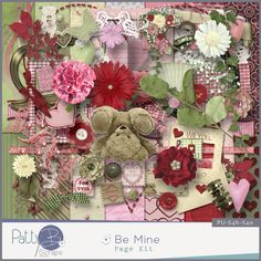 This full size (300dpi, papers 3600px x 3600px) quality checked scrapbooking kit contains 14  papers and 60 elements. The elements (300dpi, .png files) consist of:   1 bookplate, 1 brad, 1 butterfly, 2 buttons, 2 clusters, 1 doily, 1 fan, 1 flourish, 12 flowers, 3 foliage, 5 frames, 5 hearts, 2 leaves,