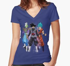 """""""Dark Goku"""" Women's Fitted V-Neck T-Shirts by luisgarcia10   Redbubble"""