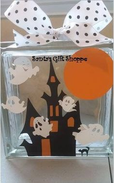 Halloween Decals Haunted House/Cute Ghosts Glass Block