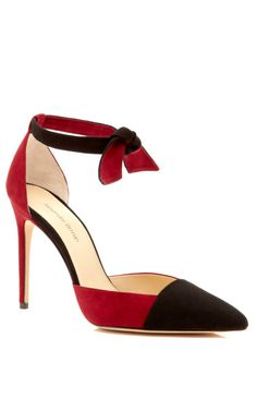 Lady Like Suede Pumps with Knotted Ankle Strap by Alexandre Birman Now Available on Moda Operandi