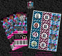 monster high free printables | Monster-High-Birthday-Invitations-Cupcake-Toppers