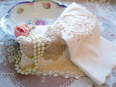 Shabby Cottage Decorative Pieces Napkins Battenburg Lace