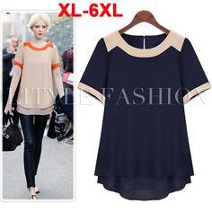 6XL Plus Size Fat Women Clothing Short Sleeve Pachwork Chiffon Blouses Summer Wear Fashion 2014 Female Tops Shirt XXXXXXL TS013