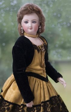 """17"""" (43 cm) All Original Very Beautiful French Bisque Smiling Poupee by Leon Casimir  Bru with Rare Deposed Fully-Articulated Bru Wooden Body, bisque hands and superb original dress!"""