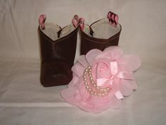 Infant / Baby Cowgirl boots Faux Leather with pink and pearl Headband by RusticAttitude on Etsy