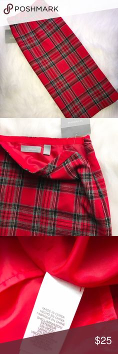 "NWT Liz Claiborne Plaid Skirt Super cute Plaid skirt new with tags! Perfect for winter or upcoming Valentines Day! Material listed in last picture. 15.5"" x 21"" Liz Claiborne Skirts"