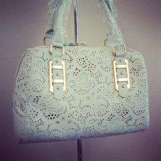 Mint , Lace Stamped Handbag Www.LesliesHandbags.net