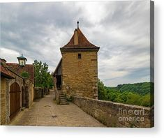 Rothenburg Old City Wall Wood Print by Norma Brandsberg. All wood prints are professionally printed, packaged, and shipped within 3 - 4 business days and delivered ready-to-hang on your wall. German Village, Fine Art Posters, Germany Photography, Wall Art Prints, Canvas Prints, Thing 1, Timber House, Fairytale Art, Photo On Wood
