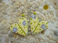 Lime-Vanilla Polymer Clay Millefiori Earrings / by Fimoworks - Will true love enter your life very soon? ...all is disclosed .. http://www.psychicinstantmessaging.co.uk/pimpin10