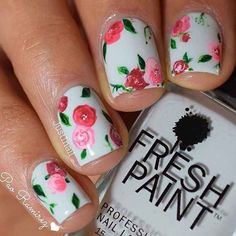 21 Gorgeous Floral Nail Designs for Spring: #21. ROSY NAILS