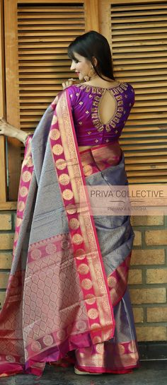 Festive and wedding collection : Banarasi muslin silk saree with running blouse. Embroidery blouse shown in the picture is only for reference purpose. Pattu Saree Blouse Designs, Blouse Designs Silk, Designer Blouse Patterns, Bridal Blouse Designs, Blouse For Silk Saree, Pattern Blouses For Sarees, Silk Blouses, Art Silk Sarees, Banarasi Sarees