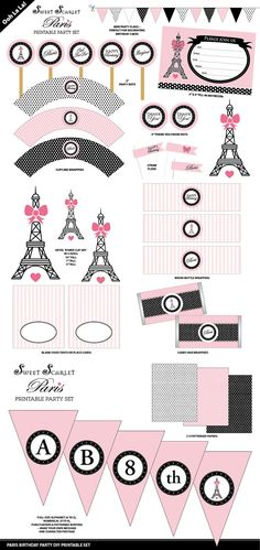 PARIS Party Printable Set Invitation by SweetScarletDesigns