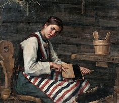 WIIK Maria, Girl Carding Wool, Finland, oil on canvas Cassie Stephens, Spinning Wool, Portrait Art, Portraits, Elementary Art, Beautiful Paintings, Art Music, Painting Inspiration, Female Art