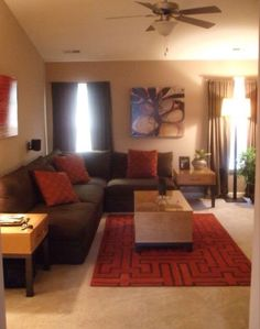 living room decor - Brown And Orange Bedroom Ideas