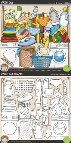 Laundry digital scrapbooking elements | Cute household chore clip art | Hand-drawn clip art and line art for digital scrapbooking, crafting and teaching resources from Kate Hadfield Designs!