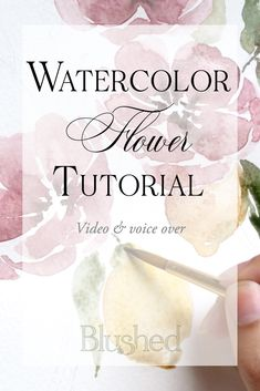 Watercolor flower tutorial for beginners. Watch my step by step process as I create my latest floral piece and receive fun little tips along the way. Artwork by Katrina of Blushed Design, Fine art wedding invitations #watercolorflowers #watercolortutorial #watercolorforbeginners