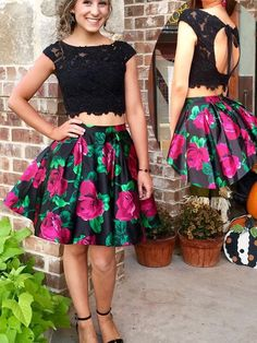 Two Piece Floral Homecoming Dress - Black Lace Open Back