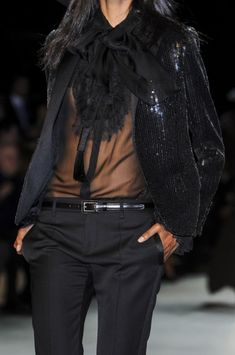 Saint Laurent Spring 2013 _ not quite business attire , apart from the pants but a chic look -  sexy