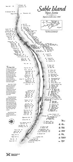 Sable Island, Nova Scotia, Canada Map The reason we have light houses. Look at all the wrecks!!!