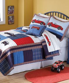 Cute Classic Cars Bedding for a little boy's room.