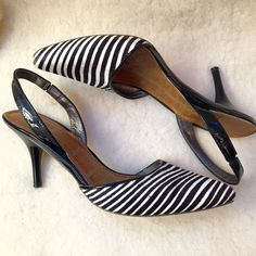 Sam Edelman Slingback - Calfhair & Patent Leather Sam Edelman slingback heels - calfskin with hair in bold black and white zebra stripes - patent leather around the ankles - only evidence of wear is on the barely worn bottoms (see pic) - tops are in like-new condition. Sam Edelman Shoes Heels